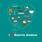 Ejemplo de la forma del corazón con cita de la Corea del Sur del amor de I Foto de archivo libre de regalías