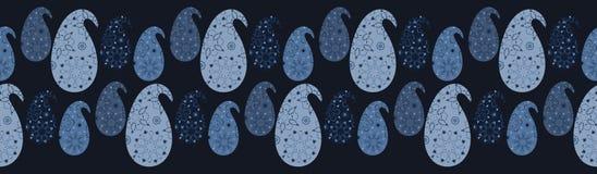 Ejemplo de la frontera del damasco de Paisley del tinte de los azules añiles stock de ilustración