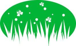 Ejemplo de la hierba y de las mariposas en un b verde Imágenes de archivo libres de regalías