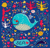 Ejemplo de la historieta con la ballena Imagenes de archivo