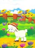 Ejemplo de la historieta con las ovejas en la granja - illu Fotografía de archivo