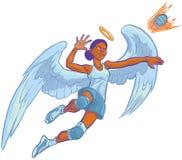 Ejemplo de la historieta de Angel Mascot Spiking Volleyball Vector de la muchacha Fotos de archivo