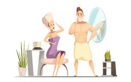 Ejemplo de la historieta de la familia de la depilación del retiro del pelo stock de ilustración