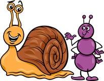 Ejemplo de la historieta de la hormiga y del caracol Imagen de archivo