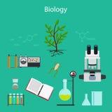 Ejemplo de la historieta de la investigación de la biología ilustración del vector