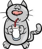 Ejemplo de la historieta de la leche de la bebida del gato Fotos de archivo