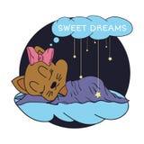 Ejemplo de la historieta de la mano que dibuja las estrellas y los sueños dulces del bebé el dormir en el cielo estrellado Ilustr Foto de archivo