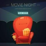 Ejemplo de la historieta de la noche de película ilustración del vector