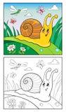 Ejemplo de la historieta de la página que colorea del caracol divertido para los niños Fotografía de archivo