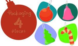 Ejemplo de la historieta de las decoraciones de la Navidad Sistema de 4 imágenes en un fondo aislado Foto de archivo libre de regalías
