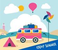 Ejemplo de la historieta de las vacaciones de verano Concepto retro del autobús del viaje ilustración del vector