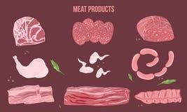 Ejemplo de la historieta de los productos de carne en estilo plano Bosquejo en fondo oscuro con las hierbas para las banderas, ma Foto de archivo libre de regalías