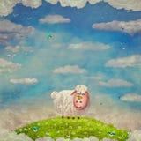 Ejemplo de la historieta de ovejas felices divertidas en un claro Fotos de archivo
