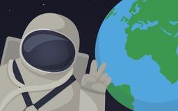 Ejemplo de la historieta de un astronauta Foto de archivo libre de regalías