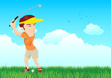 Ejemplo de la historieta de un golfista ilustración del vector