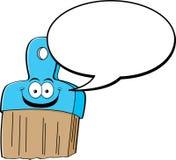 Brocha de la historieta con un globo del encabezamiento stock de ilustración