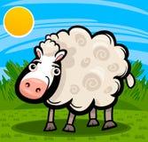 Ejemplo de la historieta del animal del campo de las ovejas Foto de archivo