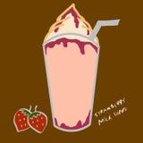 Ejemplo de la historieta del batido de leche de la fresa Imagen de archivo