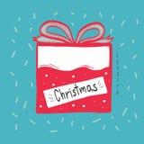 Ejemplo de la historieta del cargamento de la caja de regalo de la Navidad Imagen de archivo libre de regalías