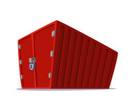 Ejemplo de la historieta del concepto del contenedor para mercancías para el trabajo del envío y del transporte aislado en el fon Imagen de archivo libre de regalías