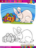 Ejemplo de la historieta del conejito de pascua para colorear Foto de archivo libre de regalías