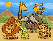 Ejemplo de la historieta del grupo de animales salvajes stock de ilustración