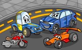 Ejemplo de la historieta del grupo de los vehículos de los coches Fotografía de archivo