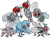 Ejemplo de la historieta del grupo de los caracteres de las moscas stock de ilustración