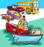 Ejemplo de la historieta del grupo de los coches y de las naves ilustración del vector