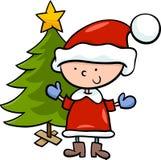 Ejemplo de la historieta del muchacho de Papá Noel Foto de archivo libre de regalías