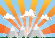Ejemplo de la historieta del paisaje de la montaña - cielo y nubes de la puesta del sol libre illustration