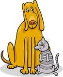 Perro y gato en el ejemplo de la historieta de la amistad Fotografía de archivo