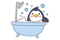 Ejemplo de la historieta del pingüino lindo stock de ilustración