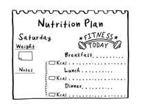 Ejemplo de la historieta del plan de la nutrición Plan exhausto de la dieta de la mano en el estilo del garabato para el desayun fotos de archivo