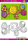 Ejemplo de la historieta del polluelo de Pascua para colorear Foto de archivo
