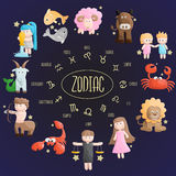 Ejemplo de la historieta del símbolo de la muestra del color del zodiaco Imagen de archivo