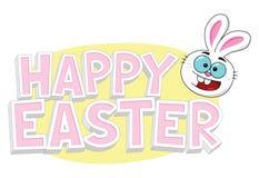 Texto feliz de Pascua con el conejito de pascua y el huevo amarillo Foto de archivo libre de regalías