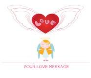 Ejemplo de la historieta del Ute de la mujer joven del ángel en amor Foto de archivo libre de regalías