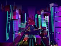 Ejemplo de la historieta del vector de la ciudad de la noche stock de ilustración