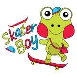 Ejemplo de la historieta del vector de la rana linda como muchacho del patinador Foto de archivo libre de regalías