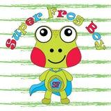 Ejemplo de la historieta del vector de la rana linda como muchacho estupendo de la rana Imagenes de archivo