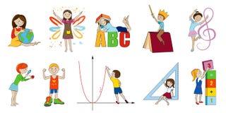 Ejemplo de la historieta del vector de los temas de escuela stock de ilustración