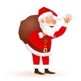 Ejemplo de la historieta del vector de Santa Claus Saco que lleva del carácter divertido plano del viejo hombre con los regalos Imagen de archivo libre de regalías