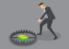 Ejemplo de la historieta del vector de trampa del hombre de negocios y del dinero Fotos de archivo libres de regalías