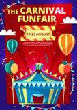 Ejemplo de la historieta del vector del funfair del carnaval del cartel de la invitación del circo, de la bandera o de la plantil stock de ilustración