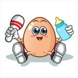 Ejemplo de la historieta del vector de la mascota del bebé del huevo ilustración del vector