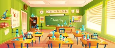 Ejemplo de la historieta del vector de la sala de clase de la escuela ilustración del vector
