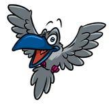 Ejemplo de la historieta del vuelo del pájaro del cuervo ilustración del vector