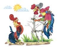 Ejemplo de la historieta de divertido - gallo dos El gallo se jacta nuevas botas Gallo lindo que canta en la cerca Vector ilustración del vector