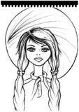 Ejemplo de la historieta de la muchacha, impresión de la camiseta ilustración del vector